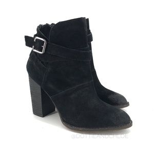 Chinese Laundry Zip It Burnished Suede Booties 7.5